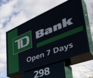 Photograph of the frontage of TD bank were bad check were written.