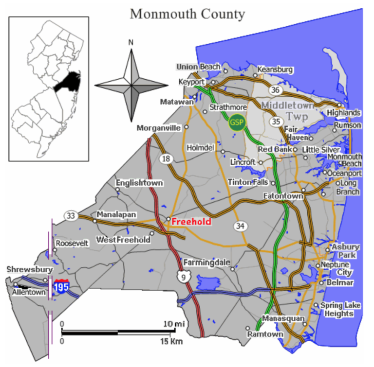 Map of Monmouth County depicting municipalities like Holmdel, Freehold, Red Bank, Tinton Falls, Wall Township, Long Branch, Brielle, Belmar, Manasquan, Sea Bright, Howell, Asbury Park, Eatontown, Neptune and other municipalities where a summons or ticket for a DWI offense may be issued.
