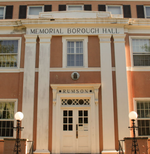 Photograph of the front of Memorial Borough Hall in Rumson.